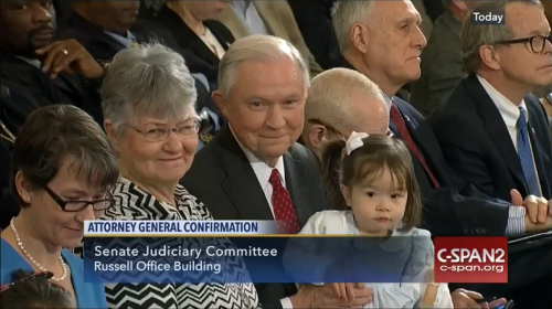 Jeff Sessions with granddaughter, CSPAN screencap